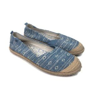 ROXY chambray jute wrapped espadrilles size 10